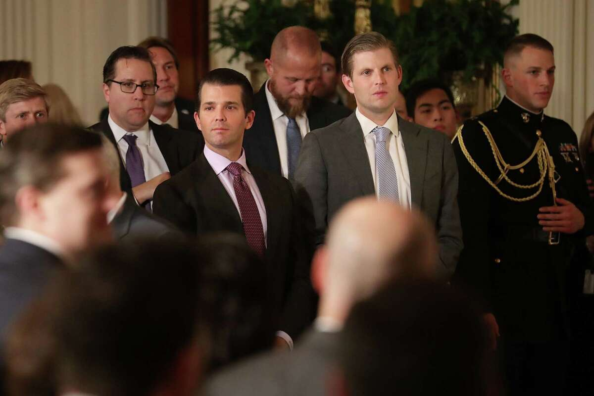 WASHINGTON, DC - JANUARY 31: Donald Trump Jr. (L) and Eric Trump, sons of U.S. President Donald Trump, attend the ceremony to nominate Judge Neil Gorsuch to the Supreme Court in the East Room of the White House January 31, 2017 in Washington, DC. If confirmed, Gorsuch would fill the seat left vacant with the death of Associate Justice Antonin Scalia in February 2016. (Photo by Chip Somodevilla/Getty Images)