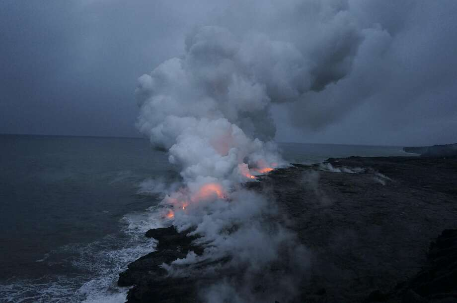 Near Kalapana are the ocean vents: the ever-changing openings where lava from Puu Oo — a cone of Kilauea — is flowing into the sea. Photo: Jeff Greenwald, Special To The Chronicle