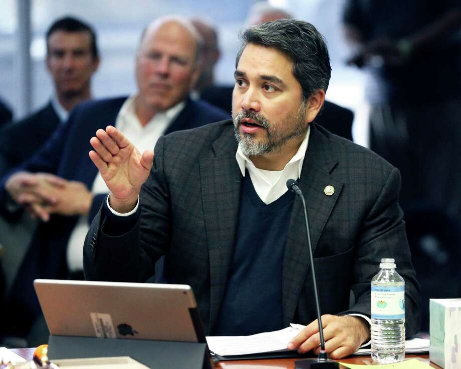 Councilman Roberto Trevino asks for clarification as planners present a Hemisfair Public-Private Partneship briefing on Civic Park developments on February 1, 2017. Photo: Tom Reel, Staff / San Antonio Express-News / 2017 SAN ANTONIO EXPRESS-NEWS