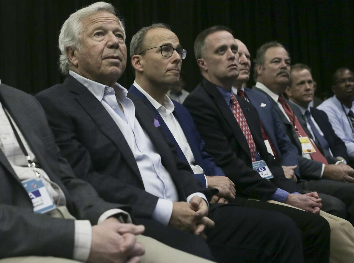 Patriots owner Robert Kraft listens to NFL commissioner Roger Goodell holds a press conference at the George R Brown Convention Center on Wednesday, Feb. 1, 2017, in Houston. ( Elizabeth Conley / Houston Chronicle )