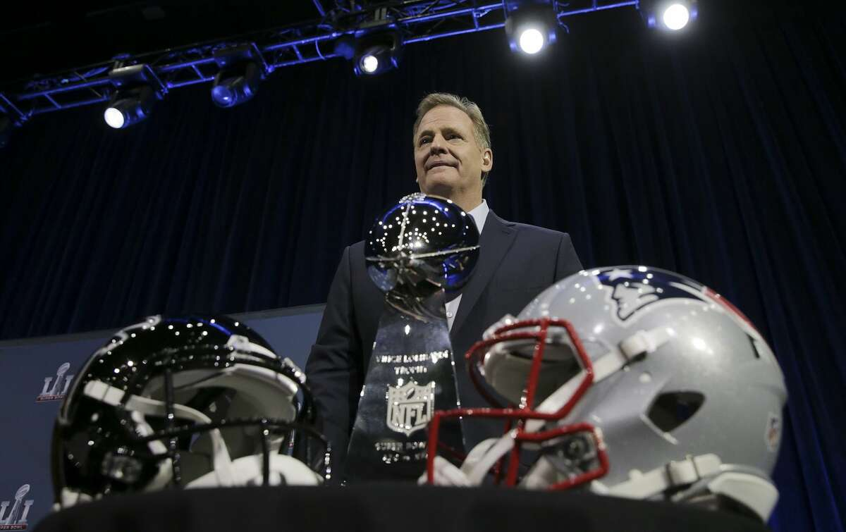 NFL commissioner Roger Goodell holds a press conference at the George R Brown Convention Center on Wednesday, Feb. 1, 2017, in Houston. ( Elizabeth Conley / Houston Chronicle )