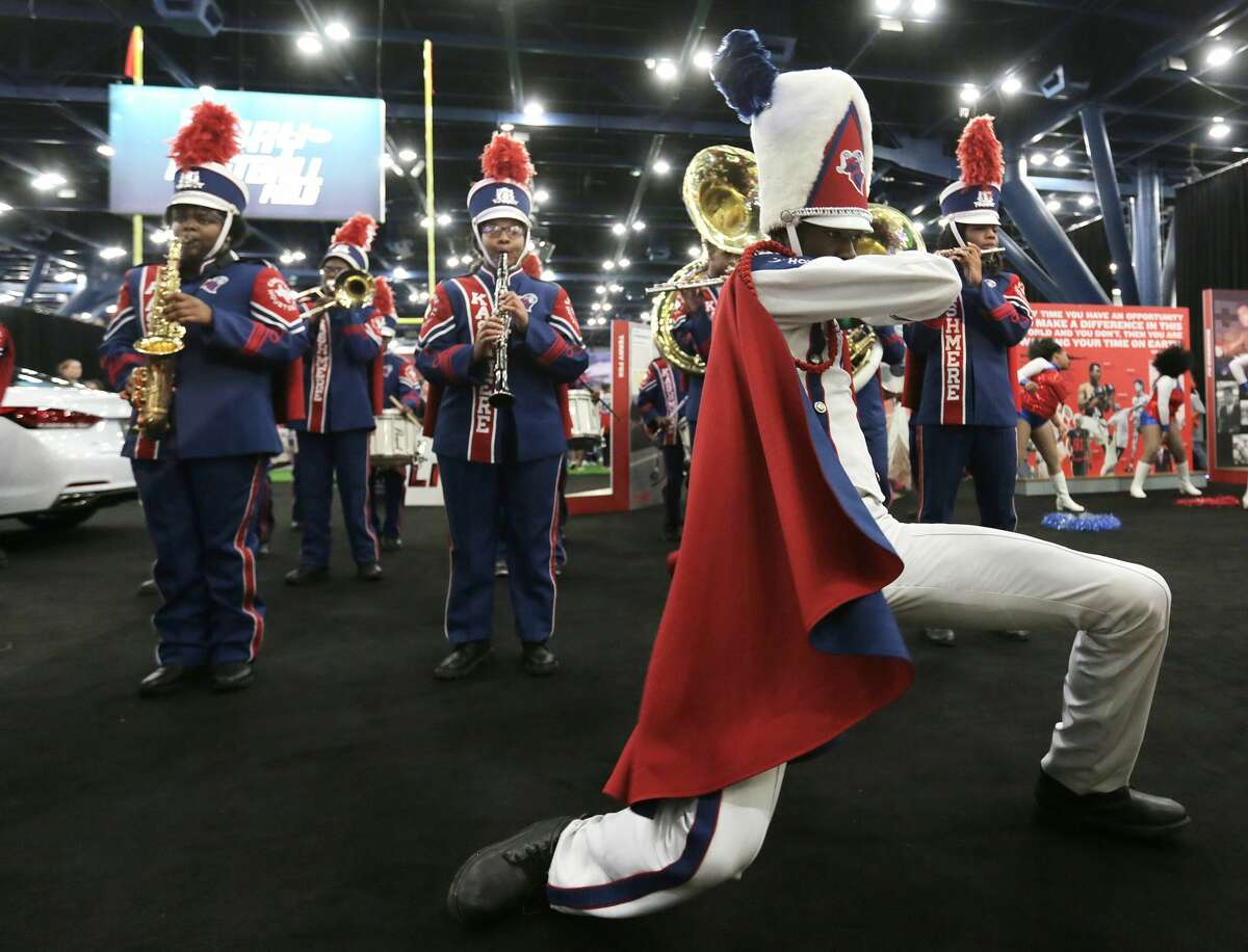 Kashmere High School marching band play during the NFL Experience as part of the NFL Play 60 Kids' Day on Wednesday, Feb. 1, 2017, in Houston. ( Elizabeth Conley / Houston Chronicle )