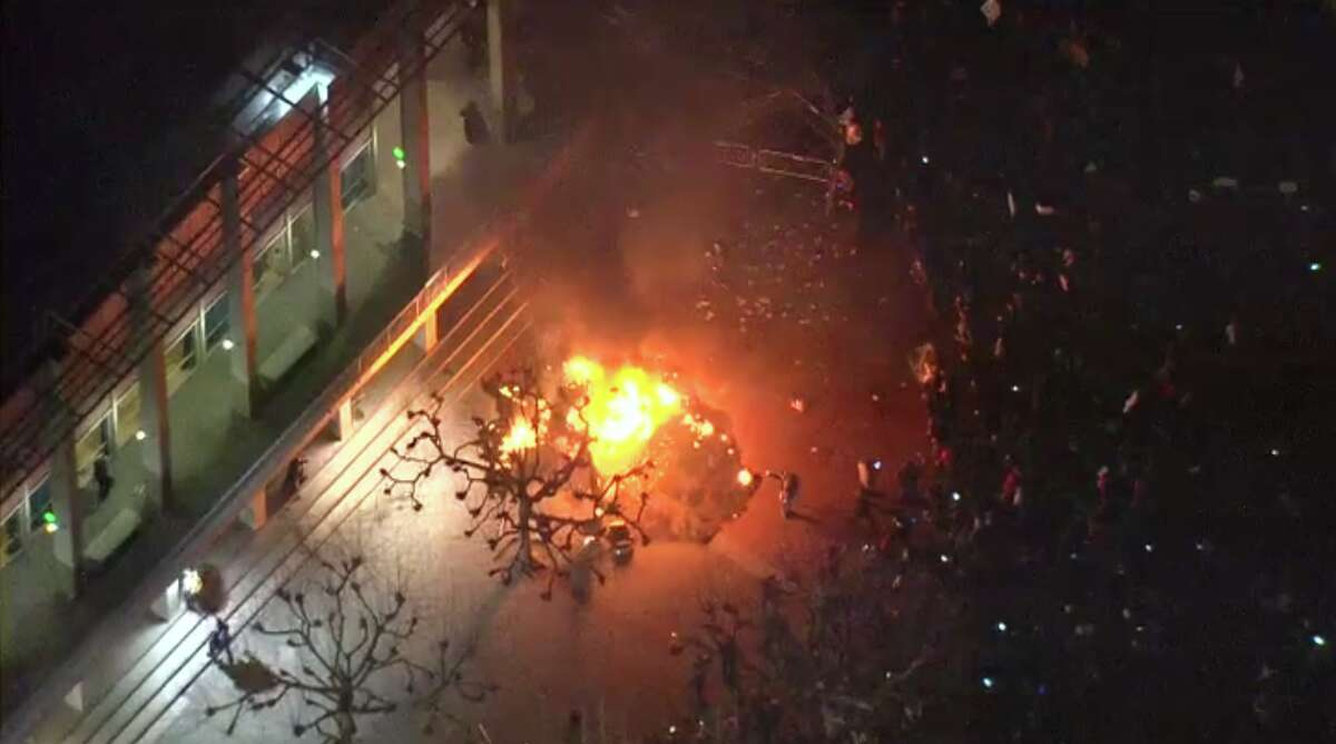 Aerial shots show the extent of the crowds and a fire that broke out at Sproul Plaza on Wednesday night, as people protested a talk by Milo Yiannopoulos. The event was later canceled as protesters broke through protective barriers.