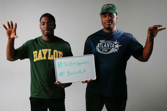 Lamar safety Trevon Lewis, left, and Alief Taylor offensive tackle Eleasah Anderson are part of Baylor's signing day class of 27 players.