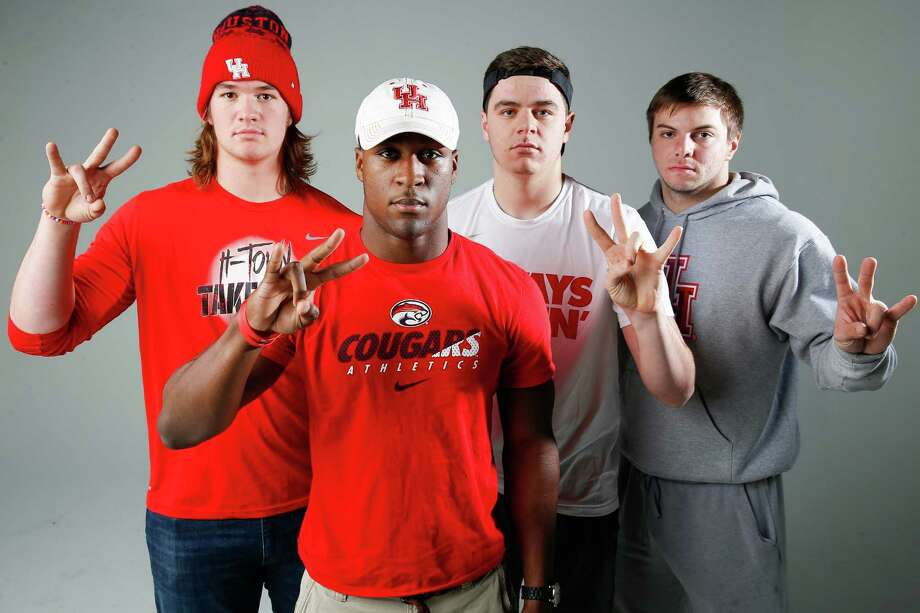University of Houston recruits, from left, Dennis Bardwell,  Elijah Gooden, Parker Eichenberger and Derek Parish are among Major Applewhite's first group of signees.  Photo: Michael Ciaglo, Staff / © 2016  Houston Chronicle