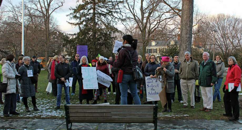 Amy Guerraro addresses a rally on the Town Hall Green Wednesday. Photo: Genevieve Reilly / Hearst Connecticut Media / Fairfield Citizen