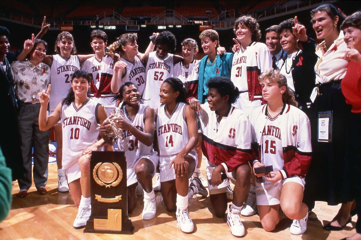 April 1, 1990 - Stanford celebrates their National Championship over Auburn on April 1, 1990 at Thompson�Boling Arena in Knoxville, Tennessee. Final score was Stanford 88, Auburn 81 with Jennifer Azzi being awarded tournaments most outstanding player. Stanford Coach Tara VanDerveer recorded her 266 coaching victory with the win. Photo Jill Gilbert / Stanford Athletics