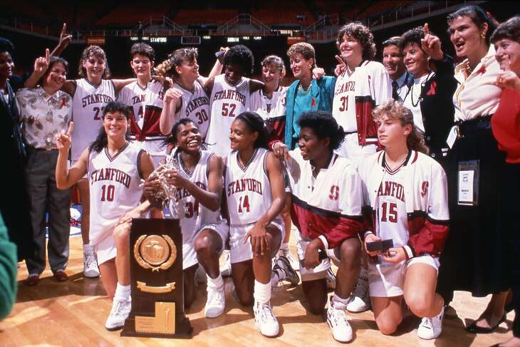 April 1, 1990 - Stanford celebrates their National Championship over Auburn on April 1, 1990 at Thompson?Boling Arena in Knoxville, Tennessee. Final score was Stanford 88, Auburn 81 with Jennifer Azzi being awarded tournaments most outstanding player. Stanford Coach Tara VanDerveer recorded her 266 coaching victory with the win. Photo Jill Gilbert / Stanford Athletics