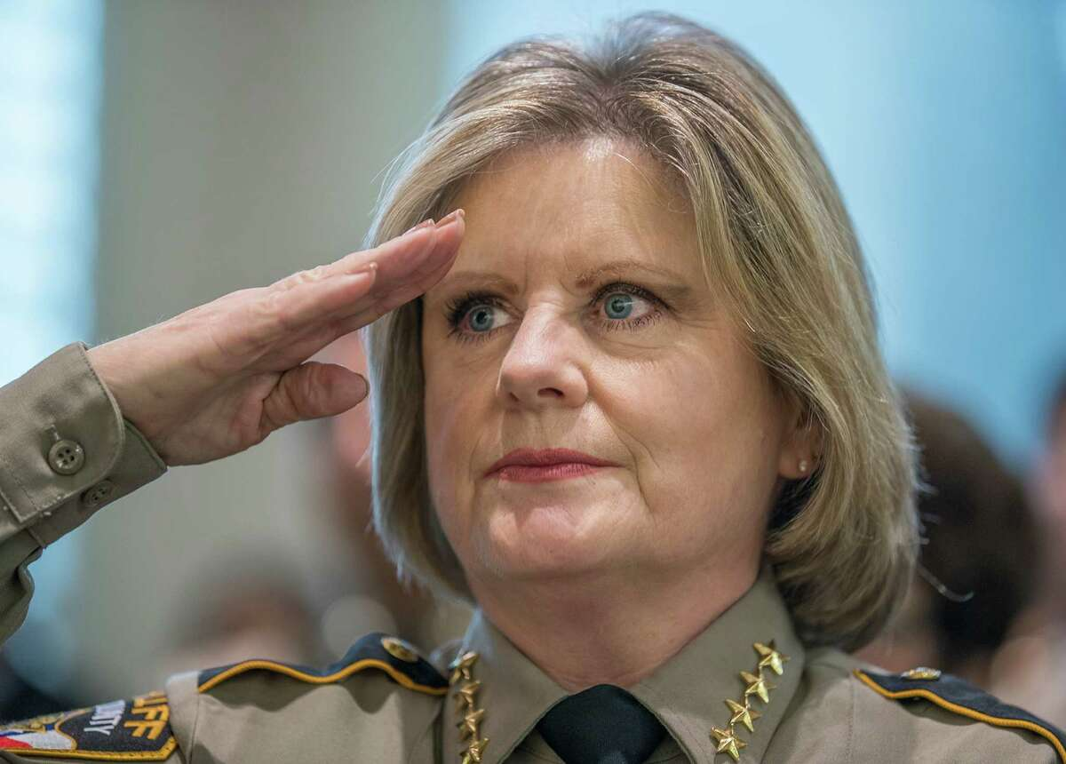 Sheriff Sally Hernandez Salutes the American flag during the Oath of Office Ceremony at the Travis County Commissioners court on Wednesday, Jan. 4, 2017. RICARDO B. BRAZZIELL/AMERICAN-STATESMAN