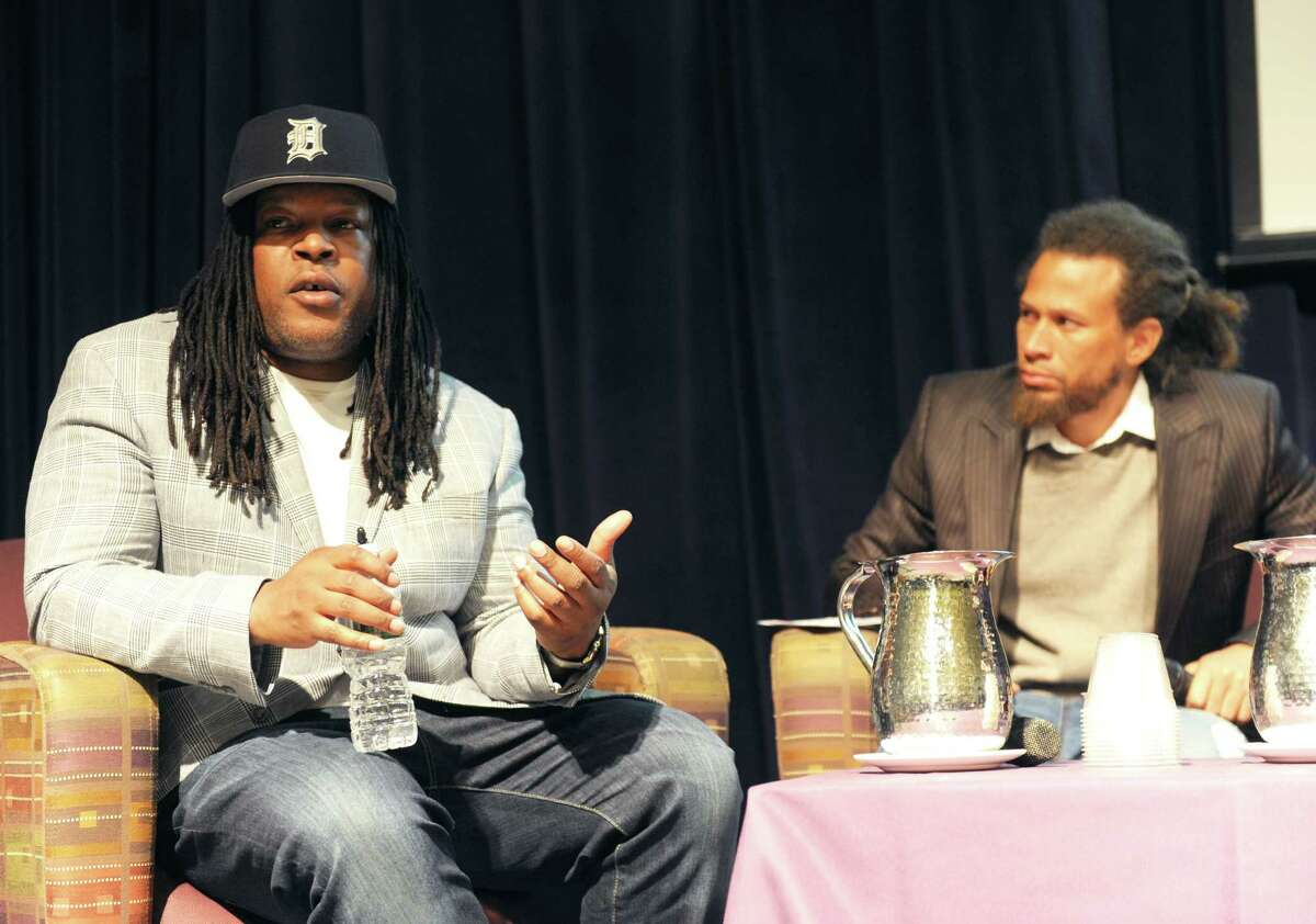 Prison reform activist and convicted murderer Shaka Senghor speaks at University at Albany in Albany, New York on February 1, 2017. Senghor was the featured speaker of the university's Martin Luther King Jr. celebration, and recounted his own experiences in prison and solitary confinement.