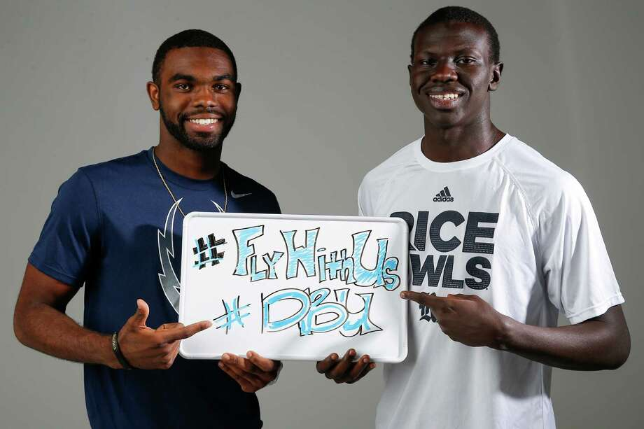 """Signee TyRae Thornton, left, will join two of his former high school teammates on the Owls, and another Rice signee, George Nyakwol, is living a """"dream come true."""" Photo: Michael Ciaglo, Staff / © 2016  Houston Chronicle"""