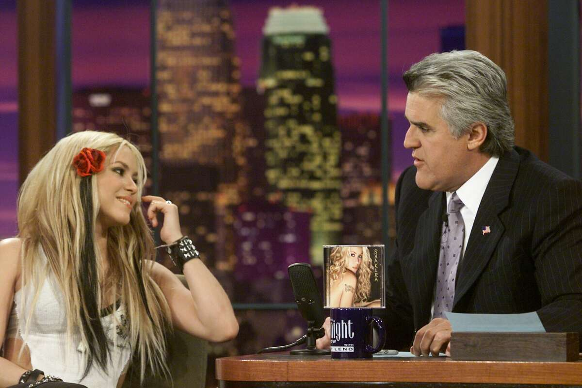 2001: Musical guest Shakira sat for an interview with television host Jay Leno on Nov. 15, 2001.