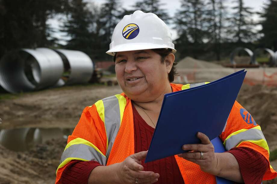 Diana Gomez the regional director of the California high-speed rail authority is seen during a visit to the San Joaquin River viaduct in Fresno, Ca. on Wednesday Feb. 1, 2017. Photo: Michael Macor, The Chronicle