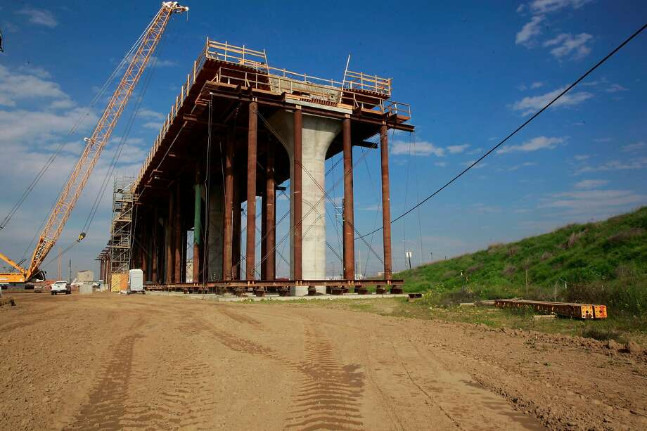 The columns of a viaduct under construction in Fresno for the high-speed rail project are almost 80 feet tall. Photo: Michael Macor, The Chronicle