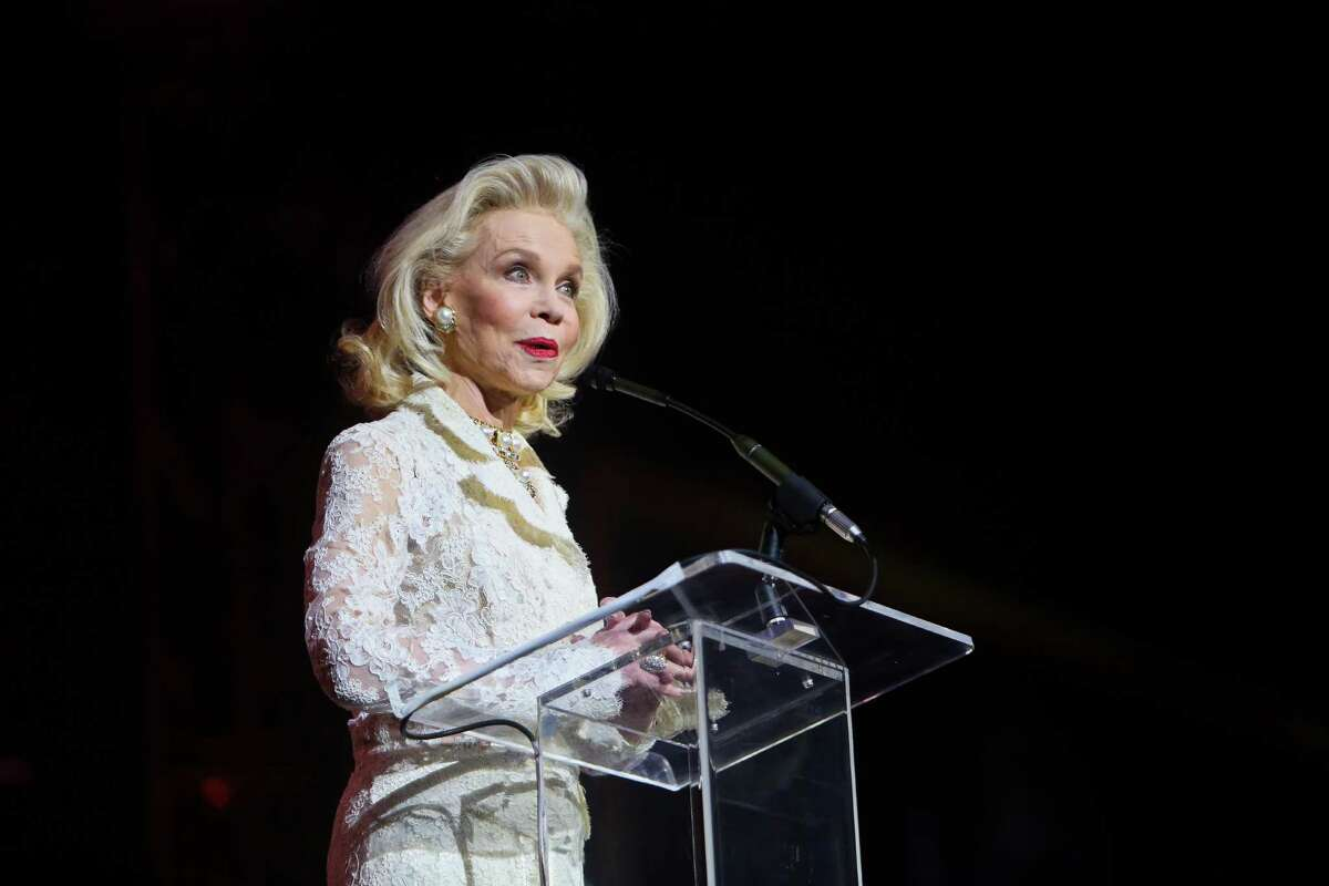 Lynn Wyatt speaks at the Super Bowl Host Committee's Luminaries of the Game gala honoring Bob and Janice McNair on Wednesday, Feb. 1, 2017. (Annie Mulligan / Freelance)