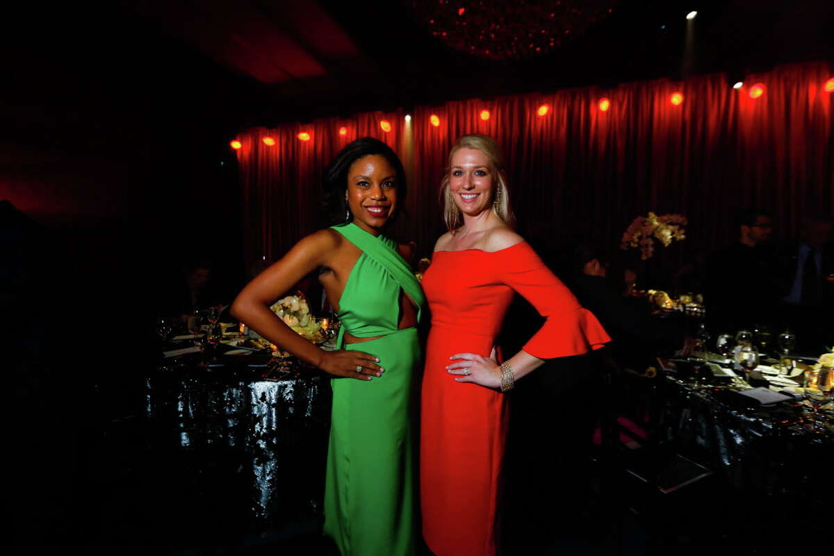 Amber Elliott and Christina Stith at the Super Bowl Host Committee's Luminaries of the Game gala honoring Bob and Janice McNair on Wednesday, Feb. 1, 2017. (Annie Mulligan / Freelance)