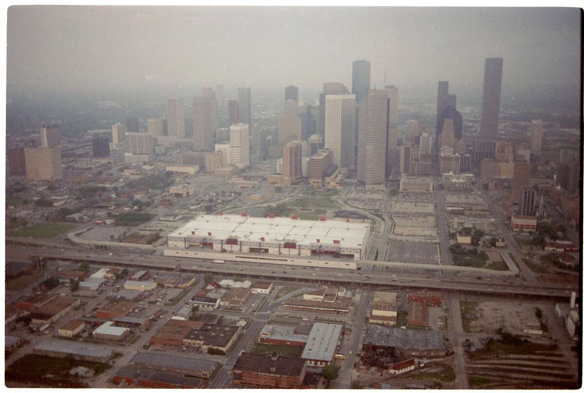 An April 1990 aerial over Houston traffic downtown. George R. Brown Convention Center.