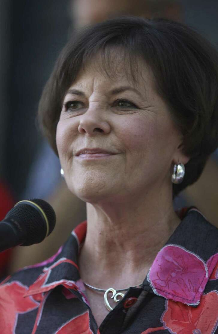 """Shelley Potter, President of the San Antonio Alliance of Teachers and Support Personnel, at a """"get out the early vote"""" rally in 2012."""