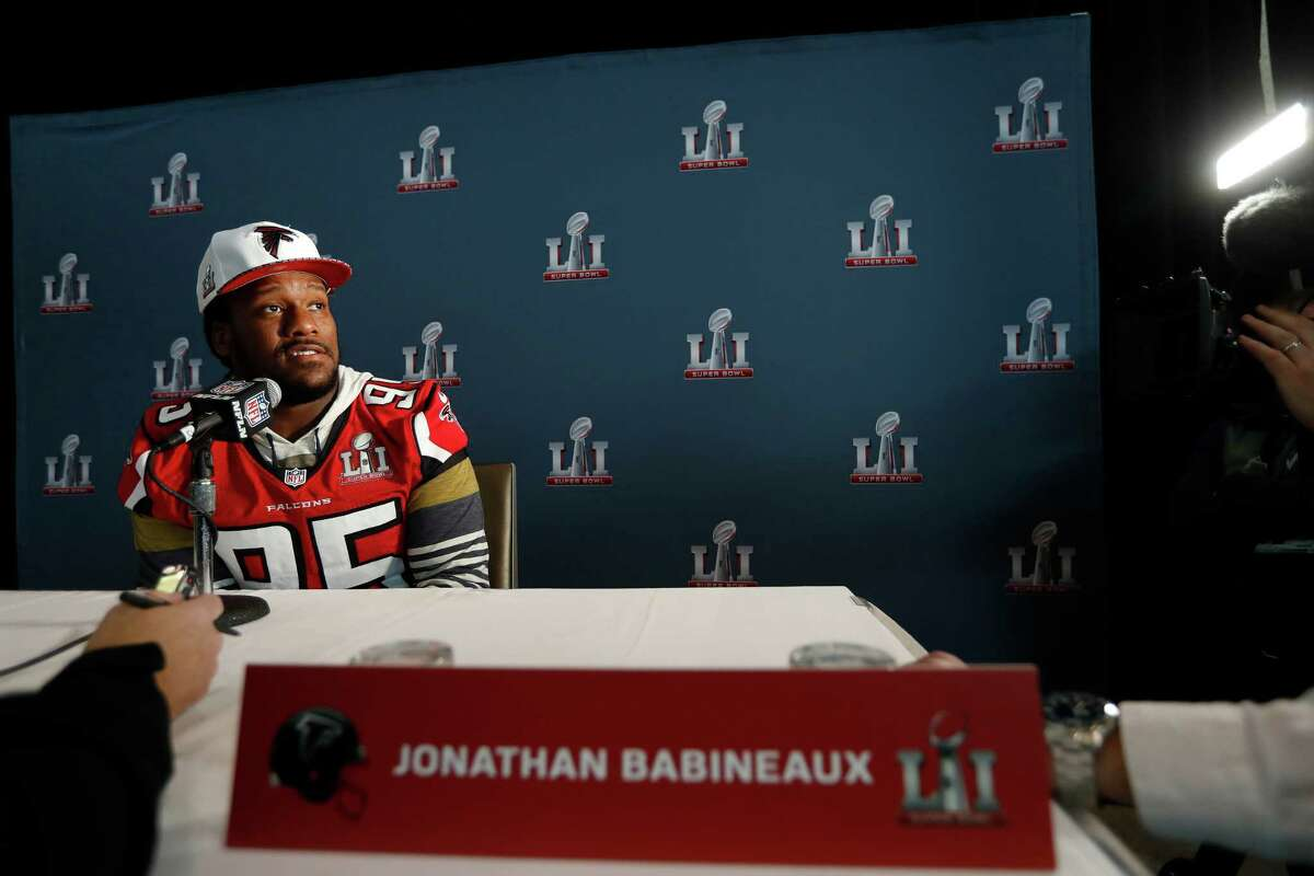 Atlanta Falcons defensive tackle Jonathan Babineaux (95) while being interviewed during the Falcons media availability at the Memorial City Ice Arena, Thursday, February 2, 2017.