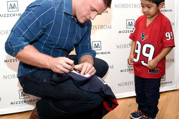 J.J. Watt celebrates Mizzen+Main at Nordstrom Houston Galleria on February 1, 2017 in Houston, Texas.  (Photo by Frazer Harrison/Getty Images for Mizzen+Main)