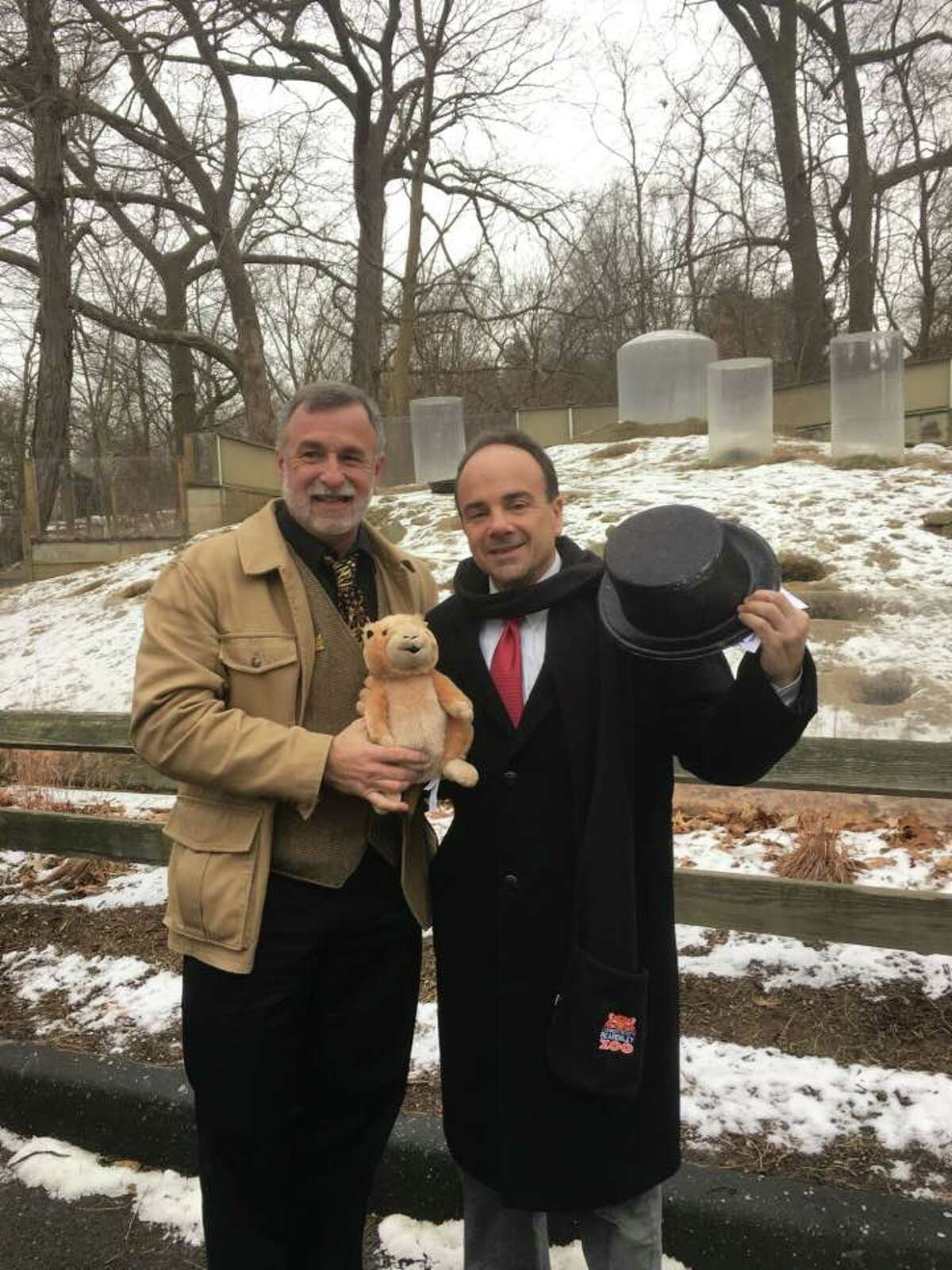 Beardsley Bart, Connecticut's own Prognosticating Prairie Dog, came out on Feb. 2, 2017 to share his weather forecast with a small gathering of friends, including Gregg Dancho, director of Connecticut's Beardsley Zoo and Bridgeport Mayor Joseph P. Ganim.