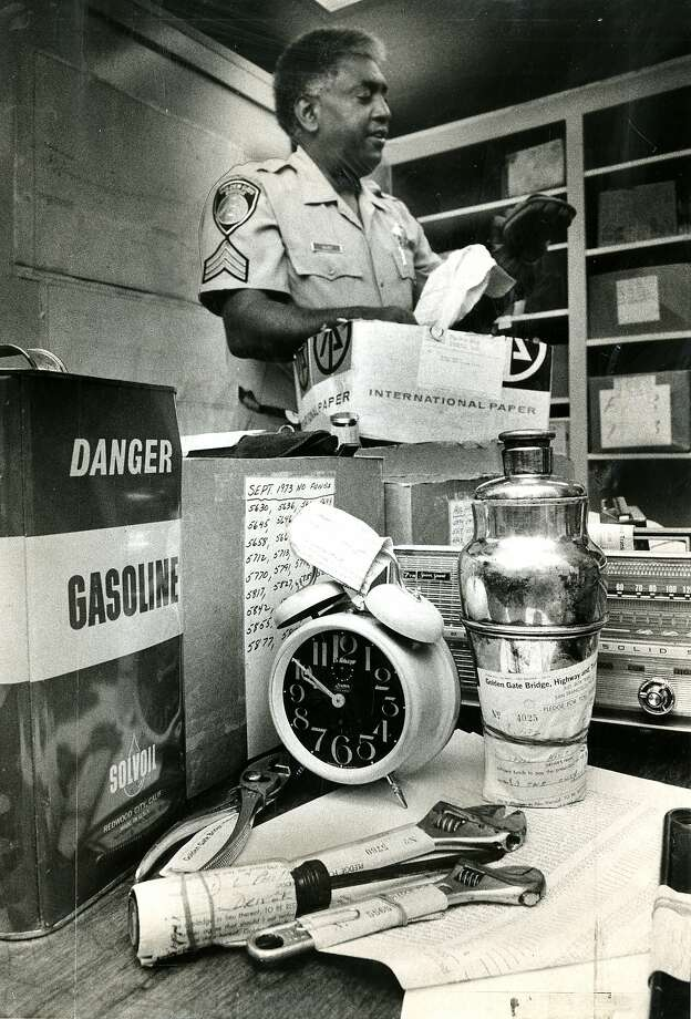 June 9, 1975: Charles Volivet examines items that were left, as security, by motorists who didn't have toll money. The items in the photo include a horse hair brush, alarm clock, transistor radios, and a pair of wrenches. The items were later auctioned off.Toll fees in the 1970's:December 1, 1969:25-trip discount toll ticket book available for $10 (40 cents/trip)December 25, 1971Replaced discount toll ticket books with 20-trip convenience ticket book for $10 (50 cents/trip)March 1, 197475 cents southbound toll, free northbound, and 20-trip convenience ticket book for $15 (75 cents/trip) Photo: Gary Fong, San Francisco Chronicle