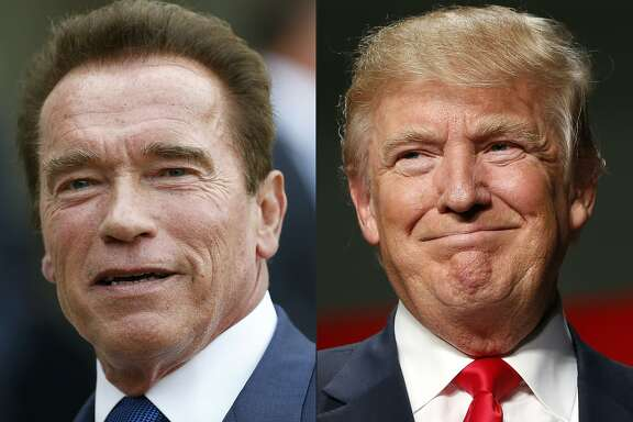 """(FILES) This file combination of pictures created on January 6, 2017 shows recent pictures of US actor and former governor of California Arnold Schwarzenegger (L) and US President Elect Donald Trump. Donald Trump attended Washington's annual prayer breakfast on February 2, 2017 and asked assembled faith leaders to pray for Arnold Schwarzenegger's television ratings. On his maiden visit to the marquee political and religious event, Trump took a joking swipe at his successor as host of """"The Apprentice."""" """"I want to just pray for Arnold, if we can for those ratings, okay?"""" Trump said.Schwarzenegger took over as host of the show on NBC television after Trump ditched the boardroom for an improbable foray into politics.  / AFP PHOTO / THOMAS SAMSON AND JEFF KOWALSKYTHOMAS SAMSON,JEFF KOWALSKY/AFP/Getty Images"""