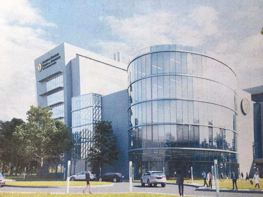 A rendering of the proposed Department of Health building at the SUNY Poly campus in Albany