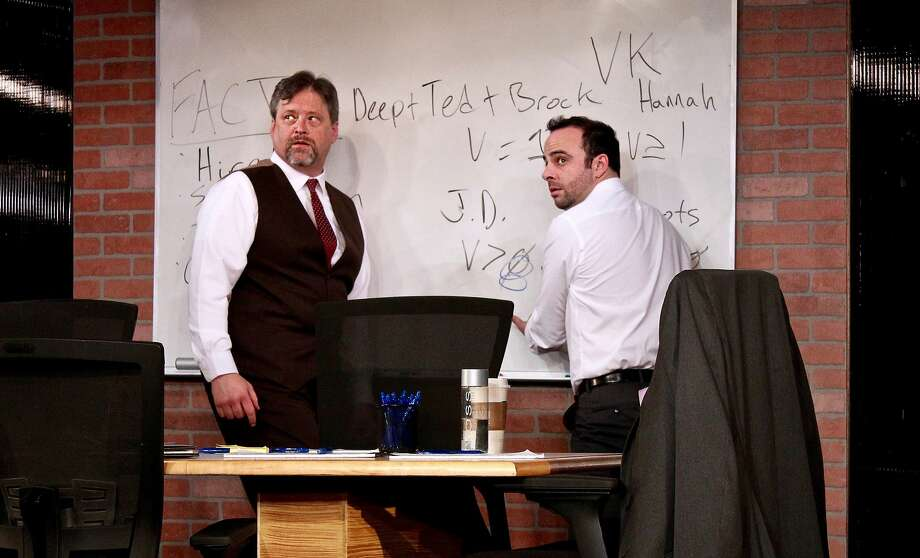 "Tom Gough (left) and George Psarras in ""Ideation."" Photo: Taylor Sanders, City Lights Theater Company"