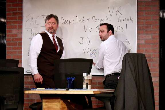 """Ted (Tom Gough, left) and Brock (George Psarras) start to get a little paranoid about the scope of the project they're working on in City Lights' """"Ideation."""""""