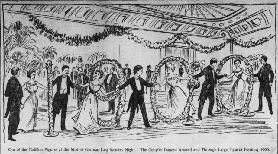 "'One of the Cotilion Figures at the Mistrot German last monday night. The couples danced around and through large figures forming 1900.' Houston 1/7/1900 illustration from the Houston Daily Post.  HOUCHRON CAPTION (12/26/1999):  Mr. and Mrs. Gustave Mistrot opened their lavish Clay Street home for a ""german,"" a special dance, New Year's Day 1900. This illustration accompanied the Houston Daily Post's society writer's account of the party. Photo: Illustsration From The Houston D / Handout  microfilm"