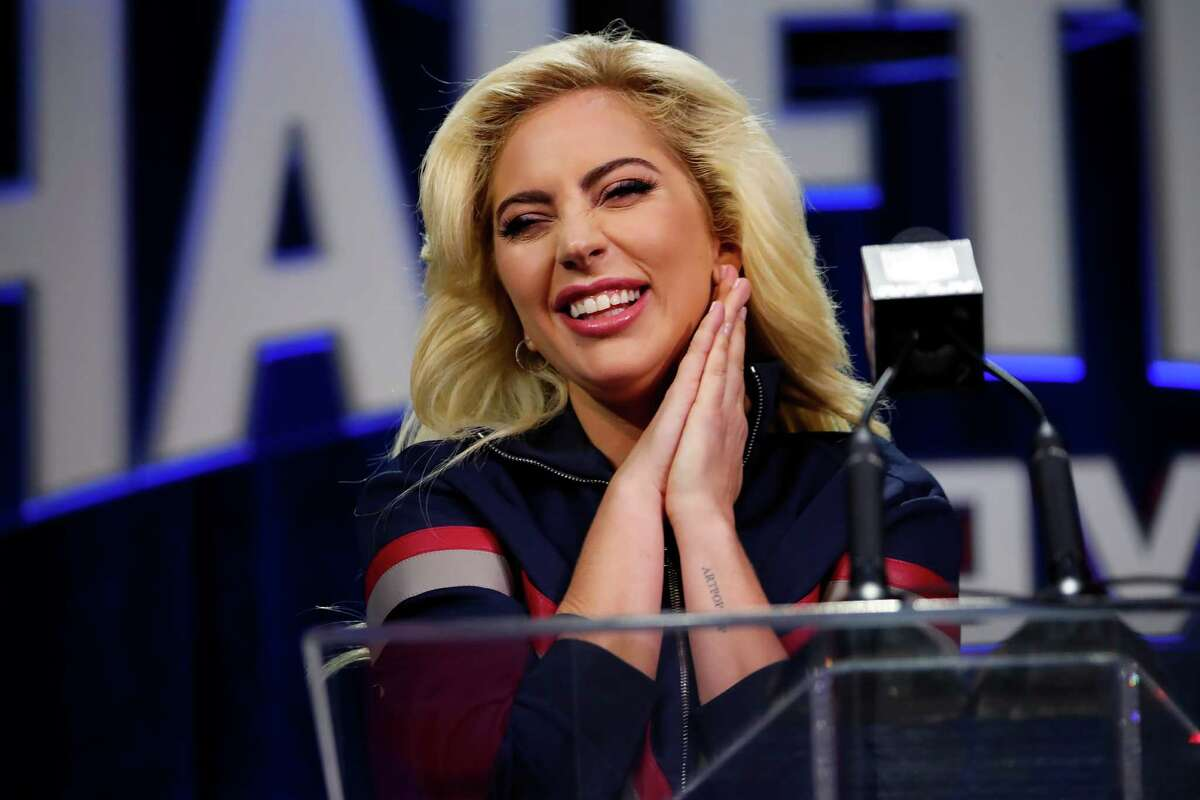 Lady Gaga answers questions about her Super Bowl performance during a news conference at the George R. Brown Convention Center in Houston, Feb. 2, 2017. She will perform during the halftime portion of the Feb. 5 game, between the New England Patriots and the Atlanta Falcons. (Doug Mills/The New York Times)