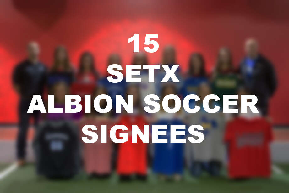 Fifteen Southeast Texas soccer players, who play for Albion soccer select team, signed to play for five different schools on Wednesday. Photo: Sara E. Flore/The Enterprise