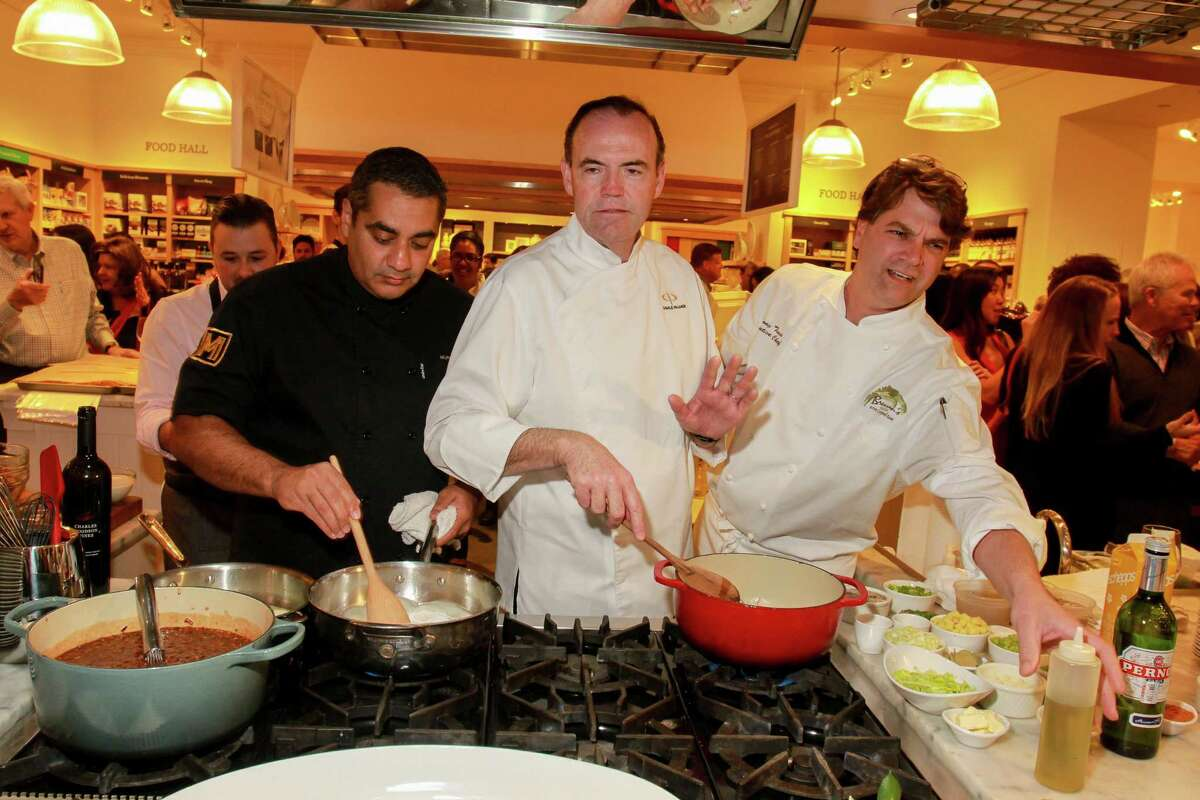 Chefs Michael Mina, from left, Charlie Palmer and Danny Trace competing at the Super Bowl