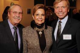 From left: Arthur and Philamena Baird with Jonathon Glus at the Elected Officials Reception for the Arts at the Hobby Center Monday Jan 27, 2014.(Dave Rossman photo)