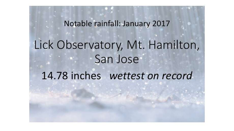 Notable rainfall totals for January 2017 from gauges around the Bay Area and Santa Cruz and Monterey Counties Photo: Getty