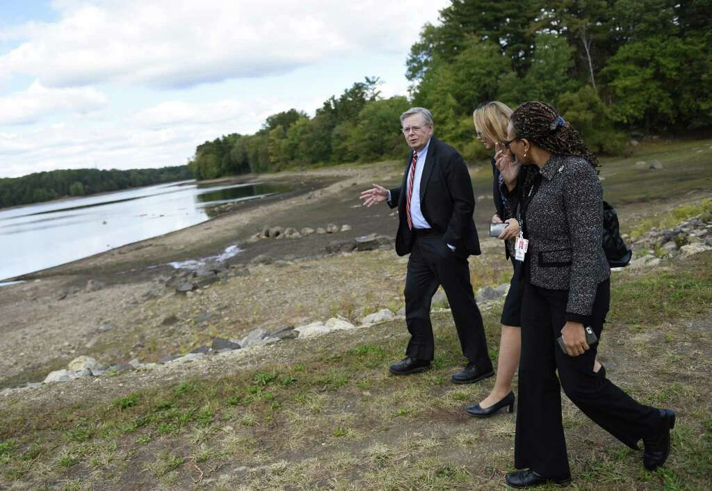 Stamford Mayor David Martin Talks With Ct Department Of Health Drinking Water Section Chief Lori Mathieu
