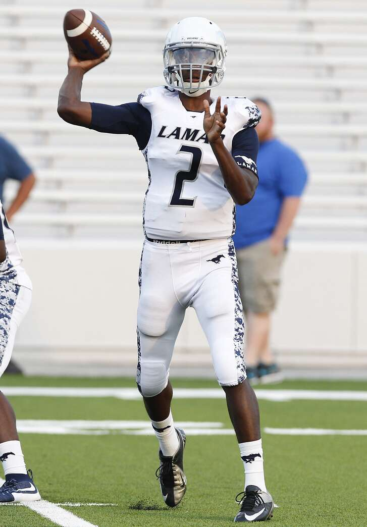 Lamar Consolidated QB Will Brown looks for an open receiver as the Mustangs took on Westside as the two teams faced off in the first game of the season at Delmar Stadium on August 27, 2015.