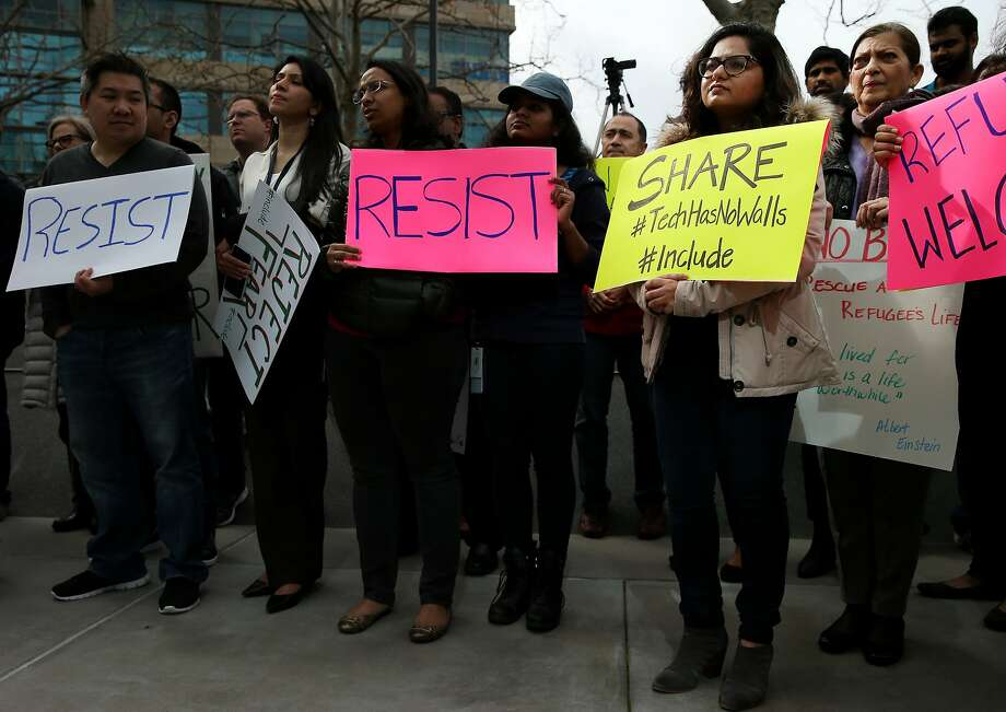 Comcast employees protest President Trump's immigration orders. Photo: Santiago Mejia, The Chronicle