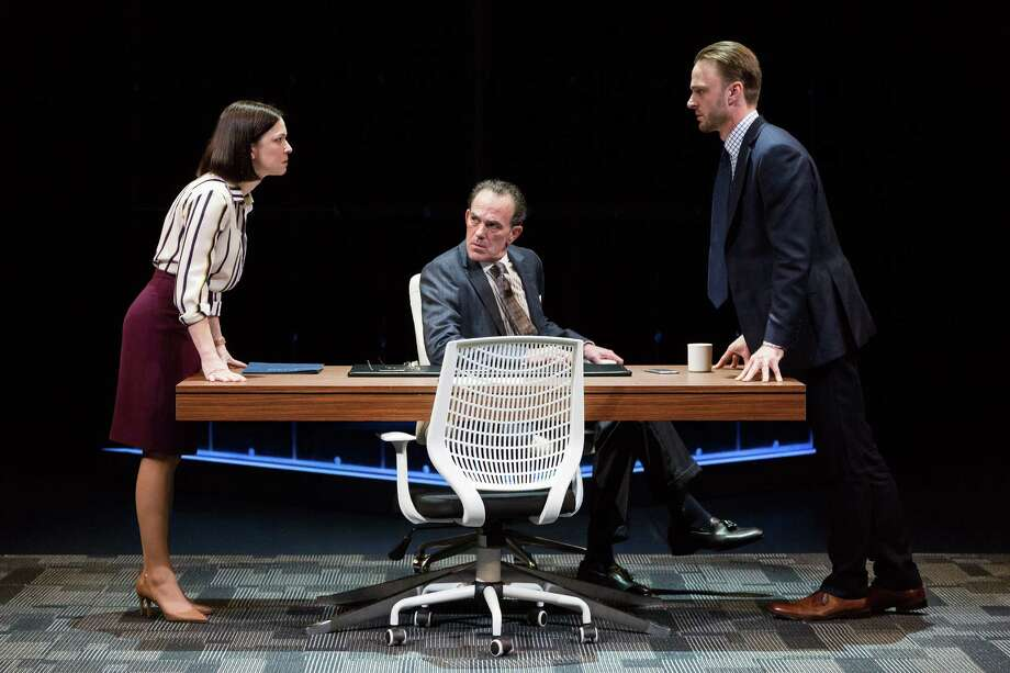 "Elizabeth Bunch as Jenny, John Feltch as Rick and Jay Sullivan as Seth in the Alley Theatre's production of Sarah Burgess' ""Dry Powder"" on stage through Feb. 12. Photo: Lynn Lane / Lynn Lane"