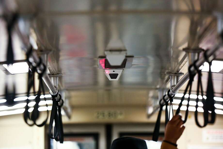 A surveillance camera is seen on the ceiling of a BART train in San Francisco, California, on Thursday, Feb. 2, 2017. Photo: Gabrielle Lurie, The Chronicle
