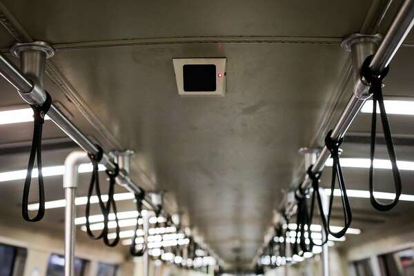 A surveillance camera is seen on the ceiling of a BART train in San Francisco, California, on Thursday, Feb. 2, 2017.