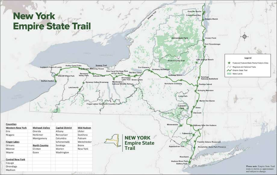 Empire State Trail Map. (Map courtesy NYS Office of Parks, Recreation and Historic Preservation)