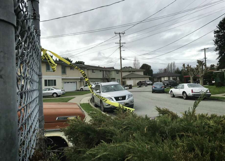 Police tape remained at the scene along Ruth Court in San Leandro on Thursday after a man was arrested for running over and killing his girlfriend the night before. Photo: Filipa A. Ioannou / The Chronicle / /