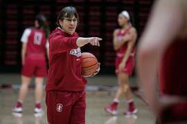 Stanford women's basketball team head coach Tara VanDerveer leads  practice at Maples Pavillion in Palo Alto, California, on Wednesday, Feb. 1, 2017.