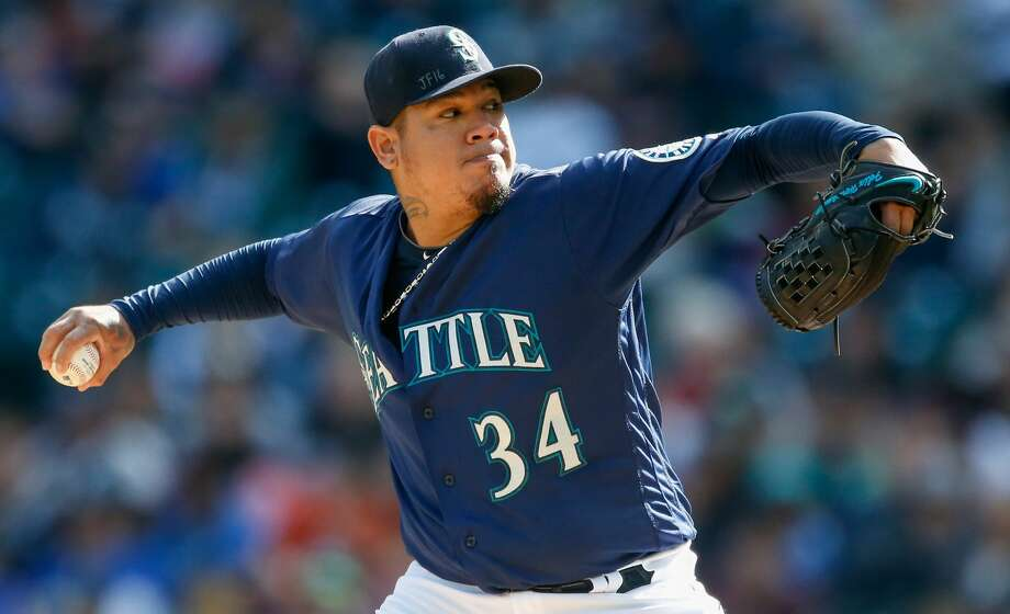 Starting pitcher Felix Hernandez #34 of the Seattle Mariners pitches against the Oakland Athletics in the first inning at Safeco Field on October 2, 2016 in Seattle, Washington.  (Photo by Otto Greule Jr/Getty Images) Photo: Otto Greule Jr/Getty Images
