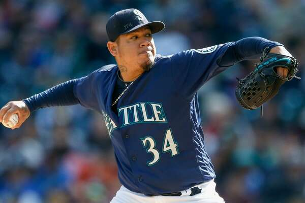 Starting pitcher Felix Hernandez #34 of the Seattle Mariners pitches against the Oakland Athletics in the first inning at Safeco Field on October 2, 2016 in Seattle, Washington.  (Photo by Otto Greule Jr/Getty Images)