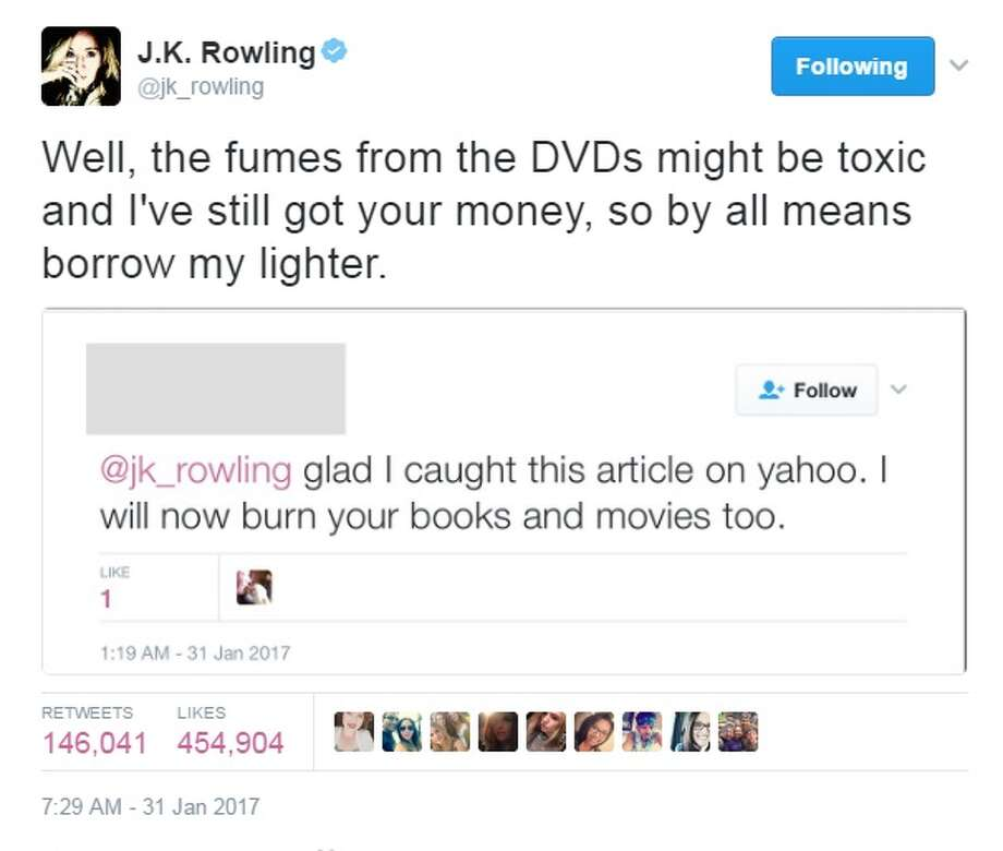 people are burning harry potter books and j k rowling has perfect  people are telling j k rowling that they re burning harry potter books and dvds