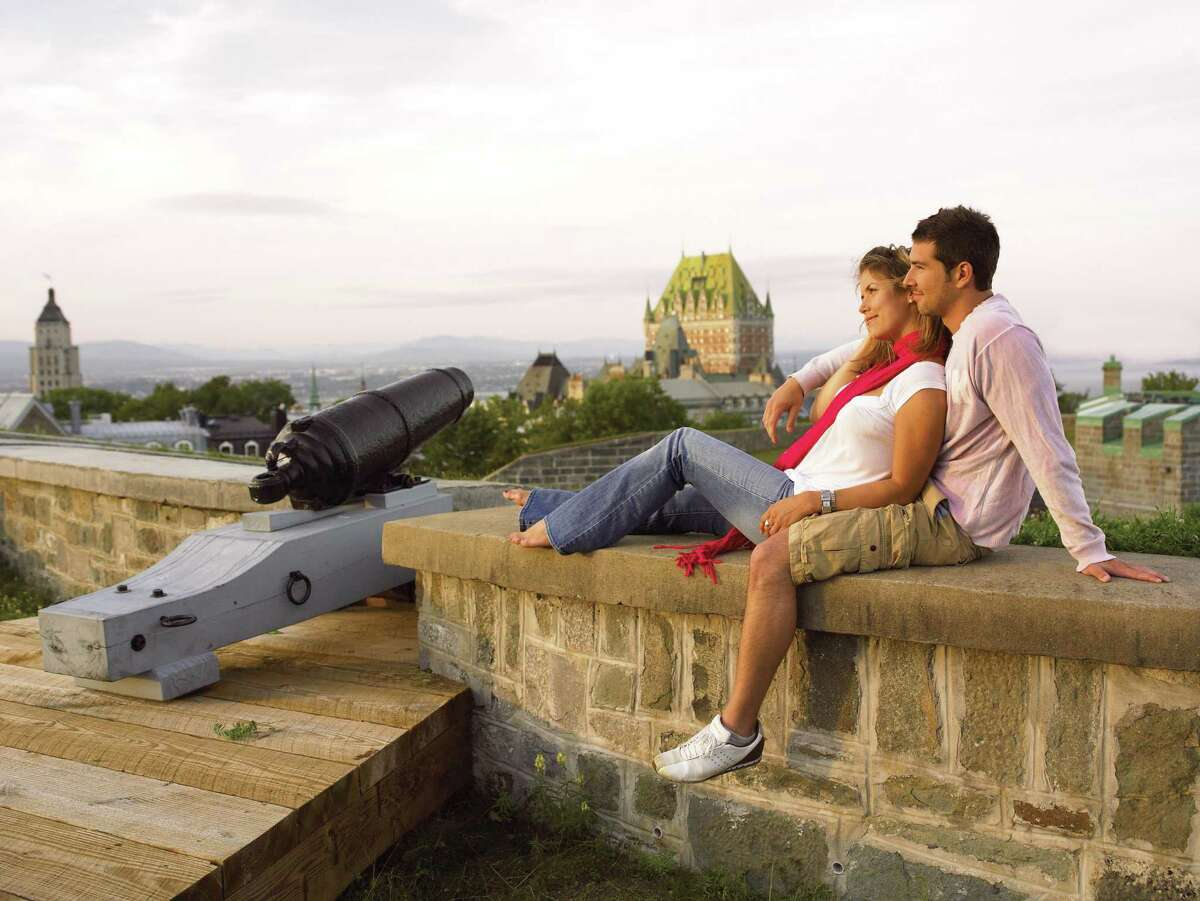 A couple enjoys the views from the Citadelle in Quebec City.