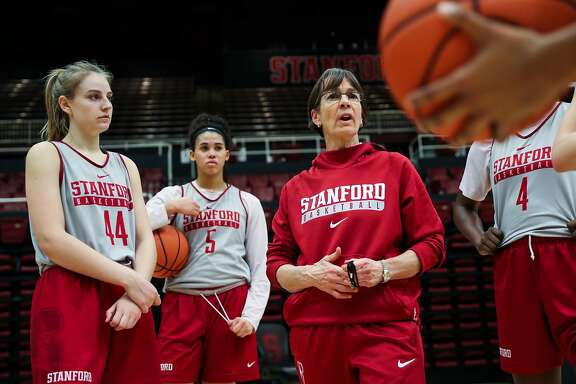 Stanford women's basketball team head coach Tara VanDerveer (center) talks to her players during practice at Maples Pavillion in Palo Alto, California, on Wednesday, Feb. 1, 2017.